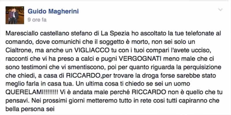 Morte Riccardo Magherini, la telefonata sorridente tra i