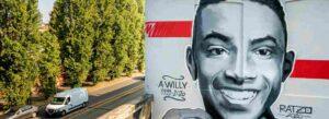 Un murales ritrae Willy Monteiro Duarte, il 21enne assassinato a Colleferro
