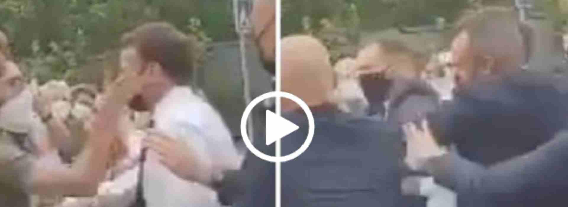 Macron preso a schiaffi tra la folla